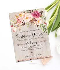 Bohemian Wedding Invite Set BLUSH Floral Invitations Watercolor Rustic Printable
