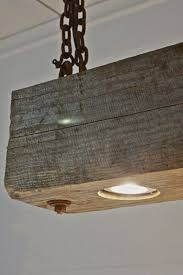 Rustic Modern Hanging Reclaimed Wood Beam Light Fixture With Rusted Chain PERFECT As The Center For Kitchen Over Homemade