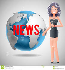 Download News Journalist Reporting Reporter Female Girl Character Mass Media Symbol On World Globe Background Design