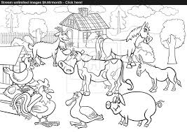 Farm Animals Cartoon For Coloring Book Vector Of Full Size