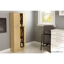 South Shore Morgan Storage Cabinet Pure Black by South Shore Axess 4 Door Laminated Particleboard Pantry In Natural