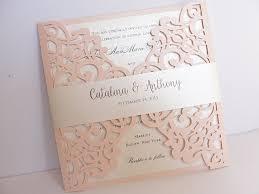 Blush Pink Laser Cut Wedding Invitation