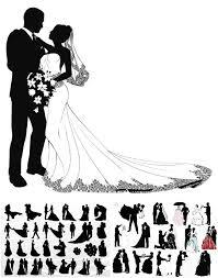 Bridal wedding clip art on flourish border vintage clip art