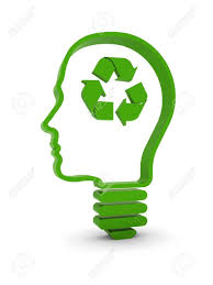 Light Bulb Human Head With Recycling Symbol Part A Series