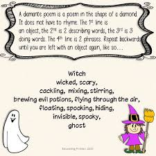 Poems About Halloween That Rhymes by Best 25 Diamante Poem Ideas On Pinterest Rhyme Meaning