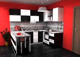 Modern Black And White Kitchen With Red Wall Painted I Like The Concept But Dont Want Checkers Look Lol