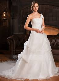 ball gown one shoulder cathedral train organza wedding dress with