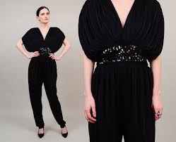 vintage 80s black draped jumpsuit plunging neckline sequin high