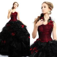 2015 vintage burgundy gothic ball gown wedding dresses with