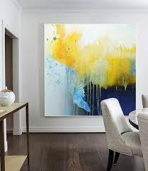 large yellow painting blue abstract canvas painting