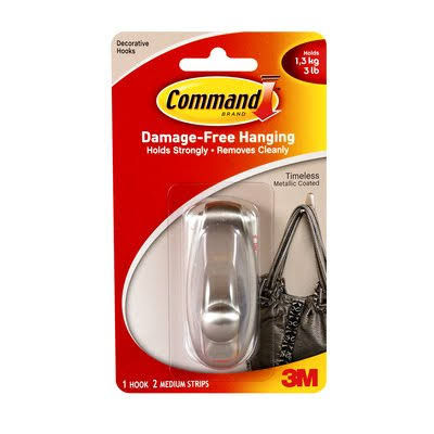 3m Command Hook - Brushed Nickel