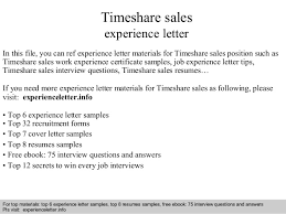 Timeshare Sales Experience Letter In This File You Can Ref Materials For Sample