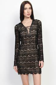 themogan cage lace up v neck eyelash lace long sleeve bodycon
