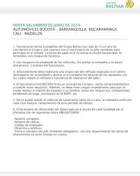 VENTA SALVAMENTOS JUNIO DE 2014 AUTOMÓVILES BOGOTÁ BARRANQUILLA