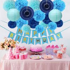 Blue Birthday Party Decorations Happy Birthday Banner 14 Paper Pom Poms 2 Paper Lanterns 2 Paper Fans Men Girls Kids Baby Shower Boys 1st
