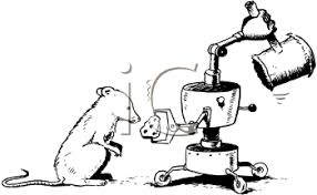 Mouse about to take cheese from an elaborate mouse trap Royalty Free Clip Art Illustration