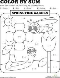 Color By Sum Springtime Garden