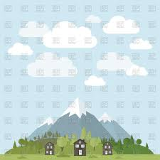 100 House In Forest In Forest Mountains Background Stock Vector Image