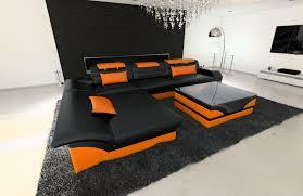 ledersofa monza l form schwarz orange