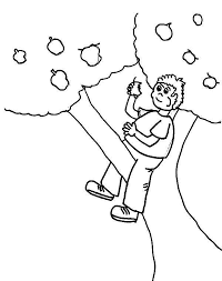 Apple Tree Boy Eating Up An Colouring Page