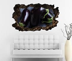 3d wandtattoo durchbruch auberginen obst gemüse küche essen wand aufkleber wanddurchbruch sticker selbstklebend wandbild wandsticker wohnzimmer