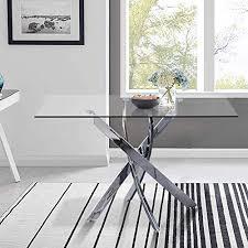 goldfan glas esstisch küchentisch glastisch wohnzimmertisch chrombeine moderner stil quadratischen tisch für büro küche 110cm