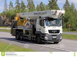 White MAN TGS Boom Truck On The Road Editorial Photo - Image Of ...