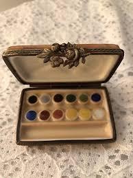 1 Of 4 Vintage Limoges Hand Painted Trinket Box Artist Painters Paint Pallet