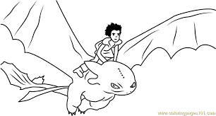 Hiccup Horrendous Flying With Toothless Coloring Page