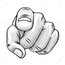 Retro Line Drawing A Pointing Finger Royalty Free Cliparts