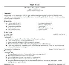 Example Of Housekeeping Resume Gallery With No Experience Luxury Housekeeper Sample