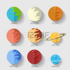 Set The Nine Planets The Solar System In A Cartoon Style