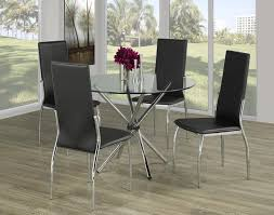 Glass Top Table With Twisting Chrome Legs And Leatherette Chairs