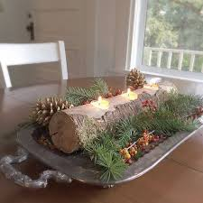 Rustic Log Candle Holder Christmas Table Centerpiece Long Tree Branch Tea Light