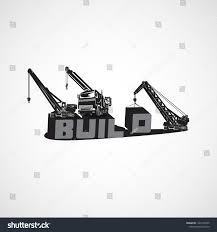 Heavy Construction Loading Equipment Truck Mounted Stock Vector ...