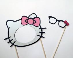Hello Kitty Photo Booth Prop Mask Glasses By PAPERandPANCAKES 1500