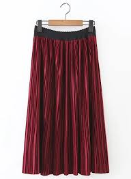 velvet solid color elastic waist pleated midi skirt oasap com
