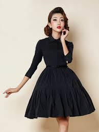 Black 3 4 Sleeve Pleat Detail Vintage Shirt Dress