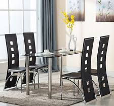 5 Piece Glass Dining Table Set With 4 Leather Chairs Kitchen Room Furniture