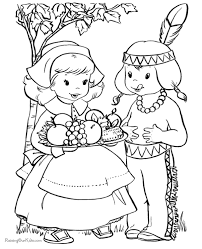 Thanksgiving Coloring Pages At Pilgrim And Indian