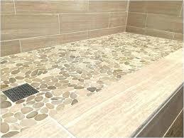 Shower Floor Ideas White Pebble Tile Tiles Bathroom Outdoor