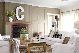 Living Room Country With Wooden Table And Fireplace White Sofa Cushion