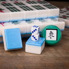 Pai Gow Tiles Strategy by Traditional Chinese Mahjong Game Set 144 2 Spares Blue Color Tiles