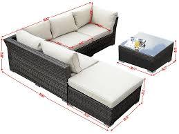 Outdoor Sectional Sofa Set by Giantex 6pc Patio Sectional Furniture Pe Wicker Rattan Sofa Set