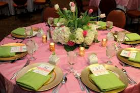 Pink And Green Table Setting For 40th Birthday Party With Spring Floral Centerpiece