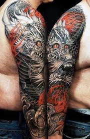 Mens Full Sleeves Grey Red Dragon Tattoo