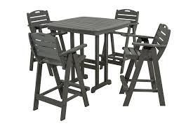 5 Piece Bar Height Patio Dining Set by Amazon Com Polywood Pws144 1 Gy Nautical 5 Piece Bar Set With