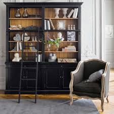 bibliothèque avec échelle en pin massif noir vintage country