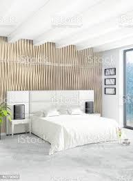weiße schlafzimmer minimalistischen stil raumgestaltung mit holz wand und grauen sofa 3drendering 3d illustration stockfoto und mehr bilder