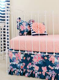 Navy And Coral Crib Bedding by Navy Floral Crib Bedding Baby Bedding Coral And Navy